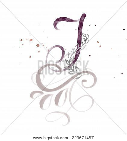 Hand Drawn Calligraphy Letter I. Watercolor Script Font. Isolated Letters Written With Ink. Handwrit