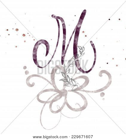 Hand Drawn Calligraphy Letter M. Watercolor Script Font. Isolated Letters Written With Ink. Handwrit