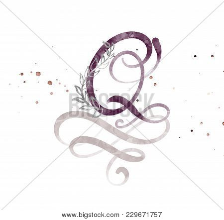 Hand Drawn Calligraphy Letter Q. Watercolor Script Font. Isolated Letters Written With Ink. Handwrit