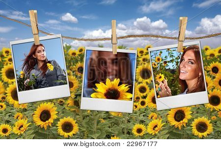 Old Film Shots Hanging in a Field of a Beautiful Red Head Woman