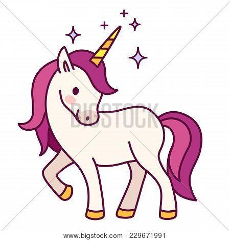 Cute Unicorn With Pink Mane Simple Cartoon Vector Illustration. Simple Flat Line Doodle Icon Contemp