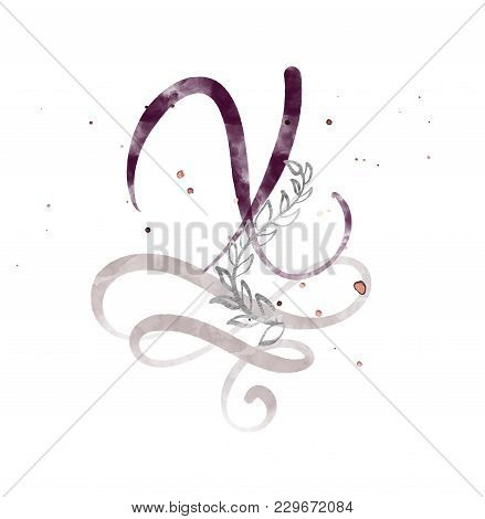 Hand Drawn Calligraphy Letter X. Watercolor Script Font. Isolated Letters Written With Ink. Handwrit