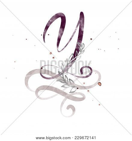 Hand Drawn Calligraphy Letter Y. Watercolor Script Font. Isolated Letters Written With Ink. Handwrit