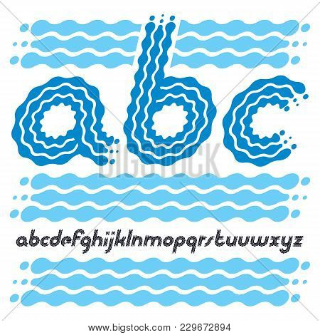 Set Of Cool Disco Vector Lowercase English Alphabet Letters, Abc Isolated. Rounded Bold Italic Type