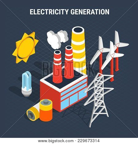 Electricity Isometric Colored Composition With Isolated Elements Of Electrical And Supply And Produc