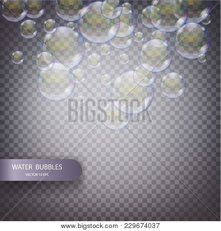 Water Bubbles Isolated On A Transparent Checkered Background. Underwater Effervescent Sparkling Oxyg