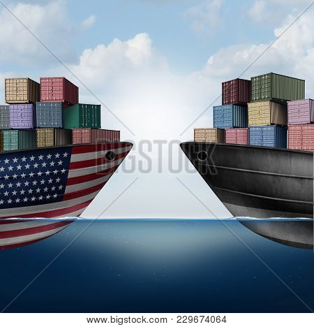 American Trade War Tariffs In The United States As Two Opposing Cargo Ships As An Economic  Taxation