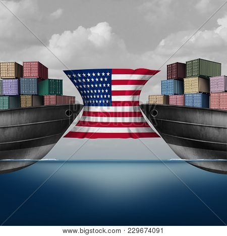 American Trade Restriction As A Tariffs Idea In The United States As Two Opposing Cargo Ships Stoppe