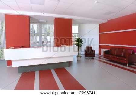 Business office reception in white and red colors poster