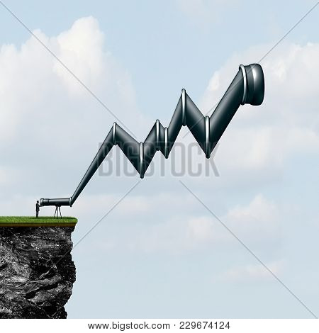 Profit Search Outlook As A Person Holding A Telescope Shaped Graph Finding Money Or Searching For Op