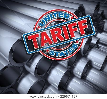 Steel And Aluminum Tariffs In The United States As A Stamp On Metal Background As An Economic Trade