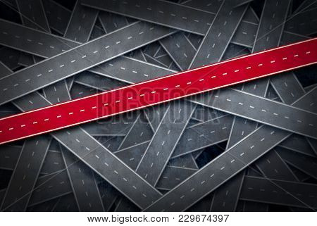 Path To Success Concept And Follow The Right Path Idea As A Group Of Roads And One Red Pathway As A