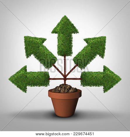 Cover All Bases Business Growth In All Directions As A  Tree With Arrows Pointing In Multiple Places