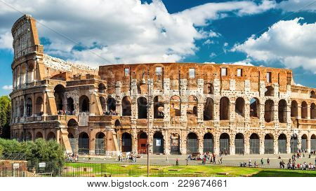 Colosseum Or Coliseum In Rome, Italy. Colosseum Is The Main Travel Attraction Of Roma. Colosseum In