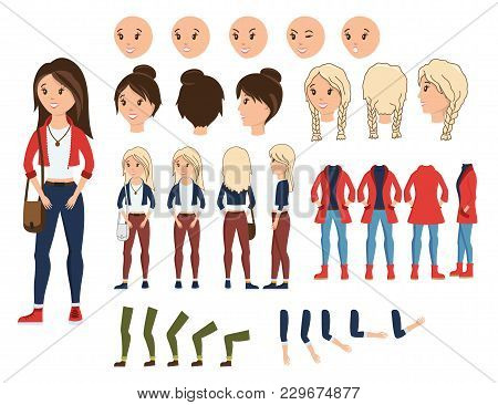 Girl Character Creation Set Vector Illustration. Female Constructor With Various Emotion On Face, Ha