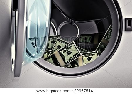 Washing Dirty Money Of Mafia Crime And Frauds - 3d Rendering