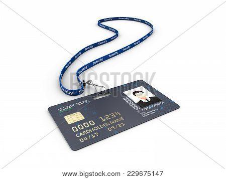 3d Illustration Of Identification Badge On Blue Woven Lanyard Strap.
