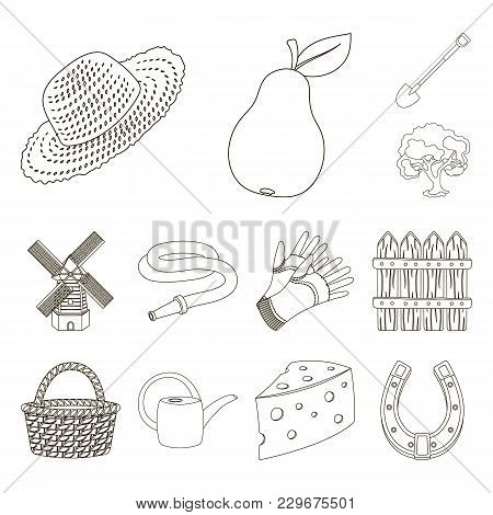 Farm And Gardening Outline Icons In Set Collection For Design. Farm And Equipment Vector Symbol Stoc
