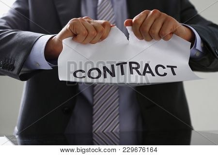 White Collar Worker In Suit And Tie Tear Contract Closeup. Get Jobless Arm Form Rip Job Loss Custome