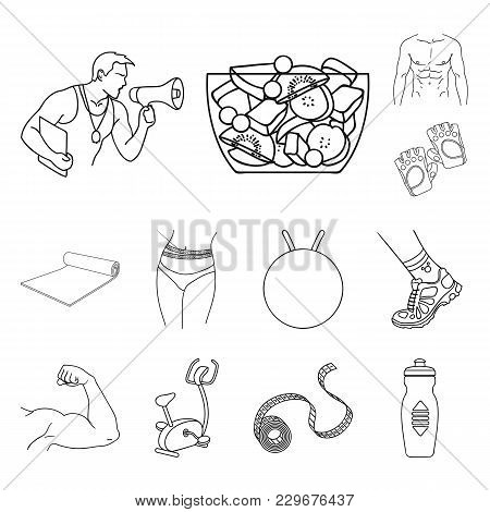Fitness And Attributes Outline Icons In Set Collection For Design. Fitness Equipment Vector Symbol S