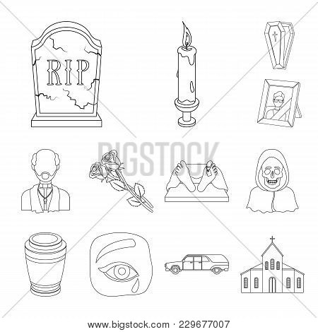 Funeral Ceremony Outline Icons In Set Collection For Design. Funerals And Attributes Vector Symbol S