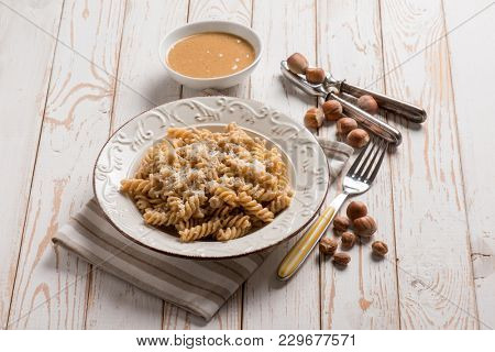 fusilli with hazelnut pesto
