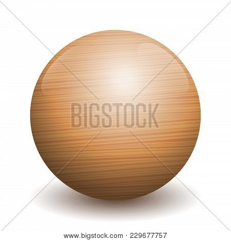 Wooden Ball - Illustration Of A Single Polished, Varnished Textured Ball With Reflections Of Light A