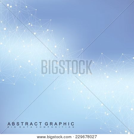 Geometric Graphic Background Communication. Big Data Complex With Compounds. Perspective Backdrop. M
