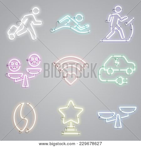 Icon Set Of Neon Lamps With Public Places Signs. Advertisement, Urban Services, Nightlife. Urban Lif