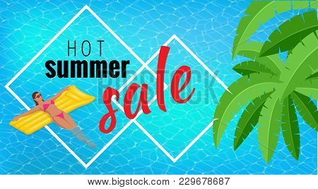 Summer Sale Template Banner. Vector Illustration With Spesial Discount Offer. Slim Young Woman In Bi