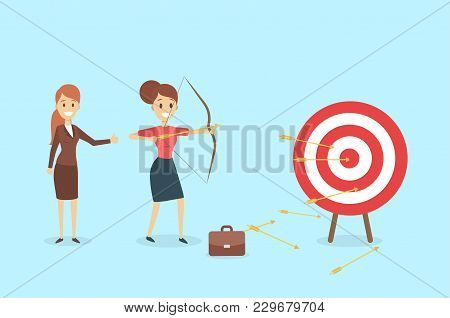 Businesswoman Aiming In Target And Shooting With Arrow.