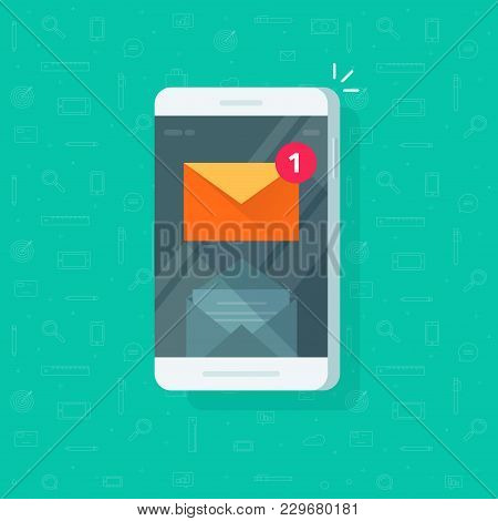 New Email Notification On Mobile Phone Vector Illustration, Flat Cartoon Smartphone Screen With New