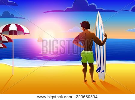 Surfer On The Ocean Beach At Sunset With Surfboard. Vector Illustration, Vintage Effect. Sports Afri