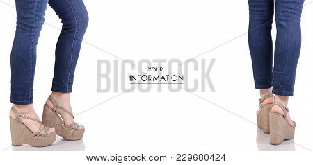Female Legs In Jeans And Gray Sandals On A Wedge Buy Shop Fashion Beauty Set Pattern On A White Back