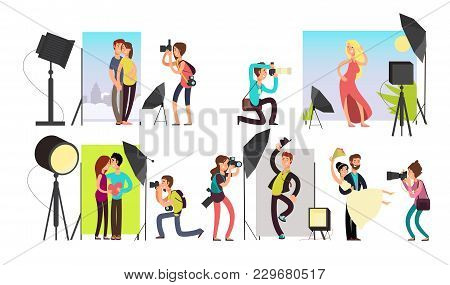 Photographers Taking Photo Portraits Of Different People In Studio Vector Characters Set Camera An