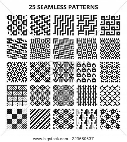 Abstract Geometric Seamless Black And White Vector Patterns. 25 Repeating Retro Textures. Illustrati