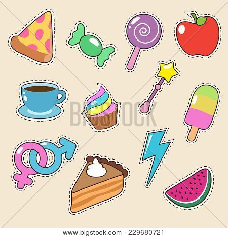 Fruit, Pizza, Coffee And Candy Stickers Vector Icons. Girl Fashion Patches Collection. Illustration