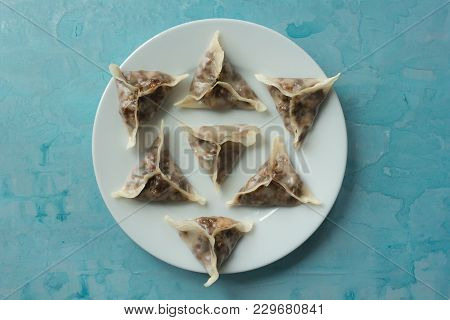 Delicious Oriental Dim Sum Dumplings On The White Plate