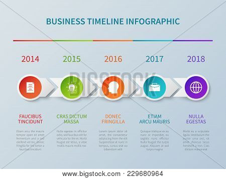 Business Timeline Vector Infographic In Paper Origami Style With Number Options. Timeline Step Infor