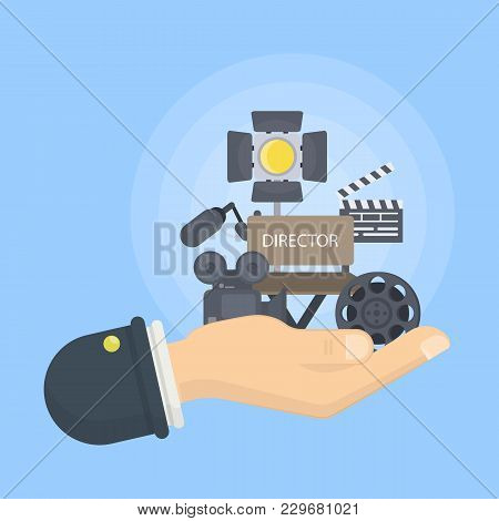 Film Director Illustration. Hand Holding Camera, Chair And Light.