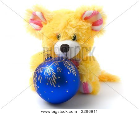 Yellow Mouse Toy With Blue Christmas Ball