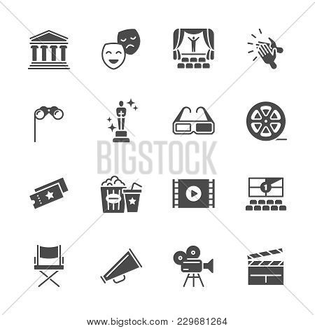 Hollywood Movie, Theater Performance And Entertainment Vector Icons. Camera Movie, Popcorn And Chair