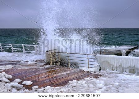 Sea. Big wave. Storm at sea. Seagulls
