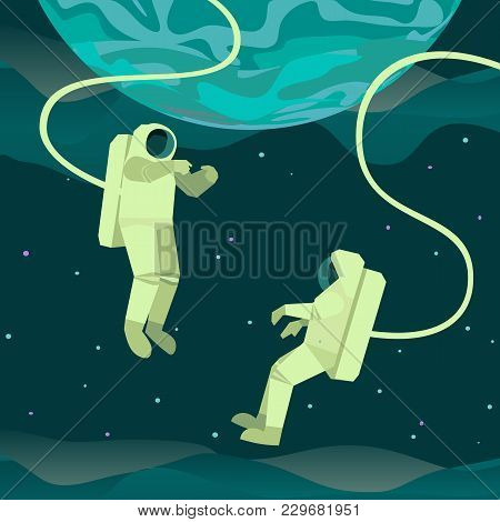 Astronaut In Outerspace Icon. Colorful Abstract Cartoon. People In Cosmos Vacuum. Flat Characters Si