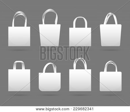 Blank White Canvas Fabric Shopping Bag Vector Templates. Canvas Fabric Eco Bag Market With Handle Il
