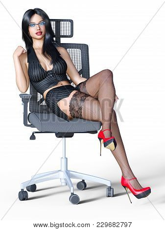 Long-haired Sexy Brunette Secretary In Black Stockings. Beautiful Girl With Glasses Sitting Office C
