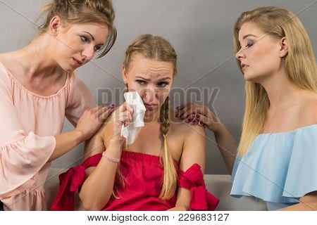 Female Women Comforting Her Woman Sad Friend Helping Her Dealing With Problems.