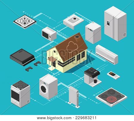 Smart House Technology System And Wireless Electronic Equipment Isometric Vector Concept. Device Equ