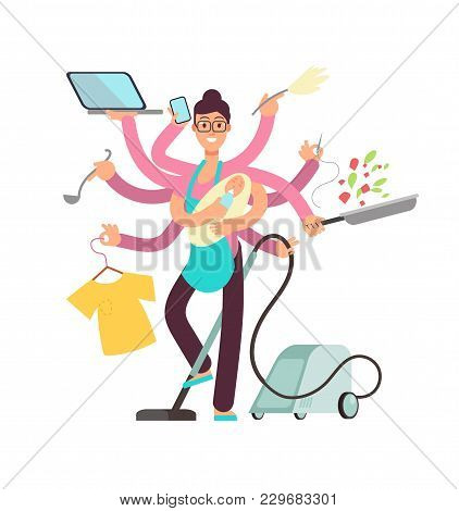 Super Busy Mother Working And Cooking Simultaneously Vector Concept. Busy And Cooking, Mother With B
