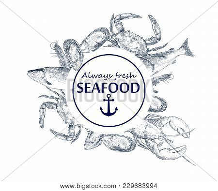 Vector Hand Drawn Seafood Logo. Lobster, Salmon, Crab, Shrimp, Octopus, Squid, Clams.engraved Art In